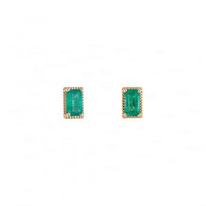 Emerald Baguette Studs