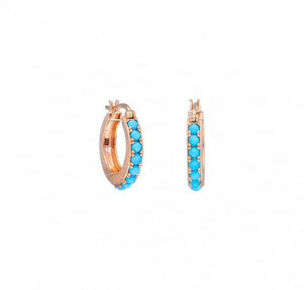 Turquoise Hoop Earrings 14k Gold