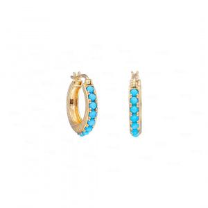 Turquoise Hoop Earrings|14k Gold