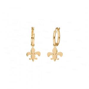 Fleur de lis Hoop Earrings|Solid Gold Hoop