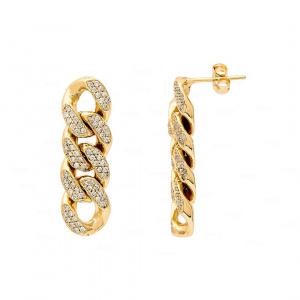 Cuban Chain Earrings 14k Gold, Diamond