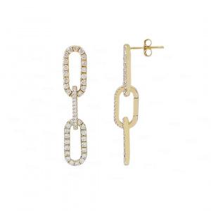Oval Link Chain Earrings 14k Gold, Diamond
