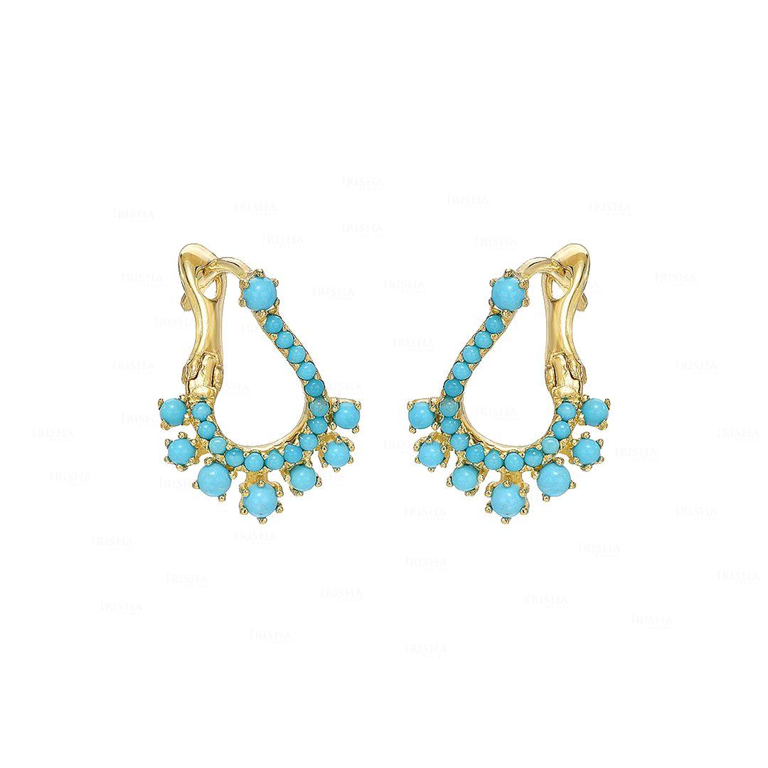 Turquoise Huggie Earrings|14k Gold