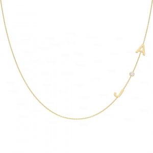 Personalised Name Initials Necklace 14k Gold, Bezel Diamond