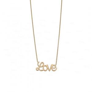 Agape Necklace 14k Solid Gold Love Script