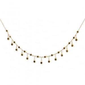 Black Diamond Fringe Necklace 14k Gold