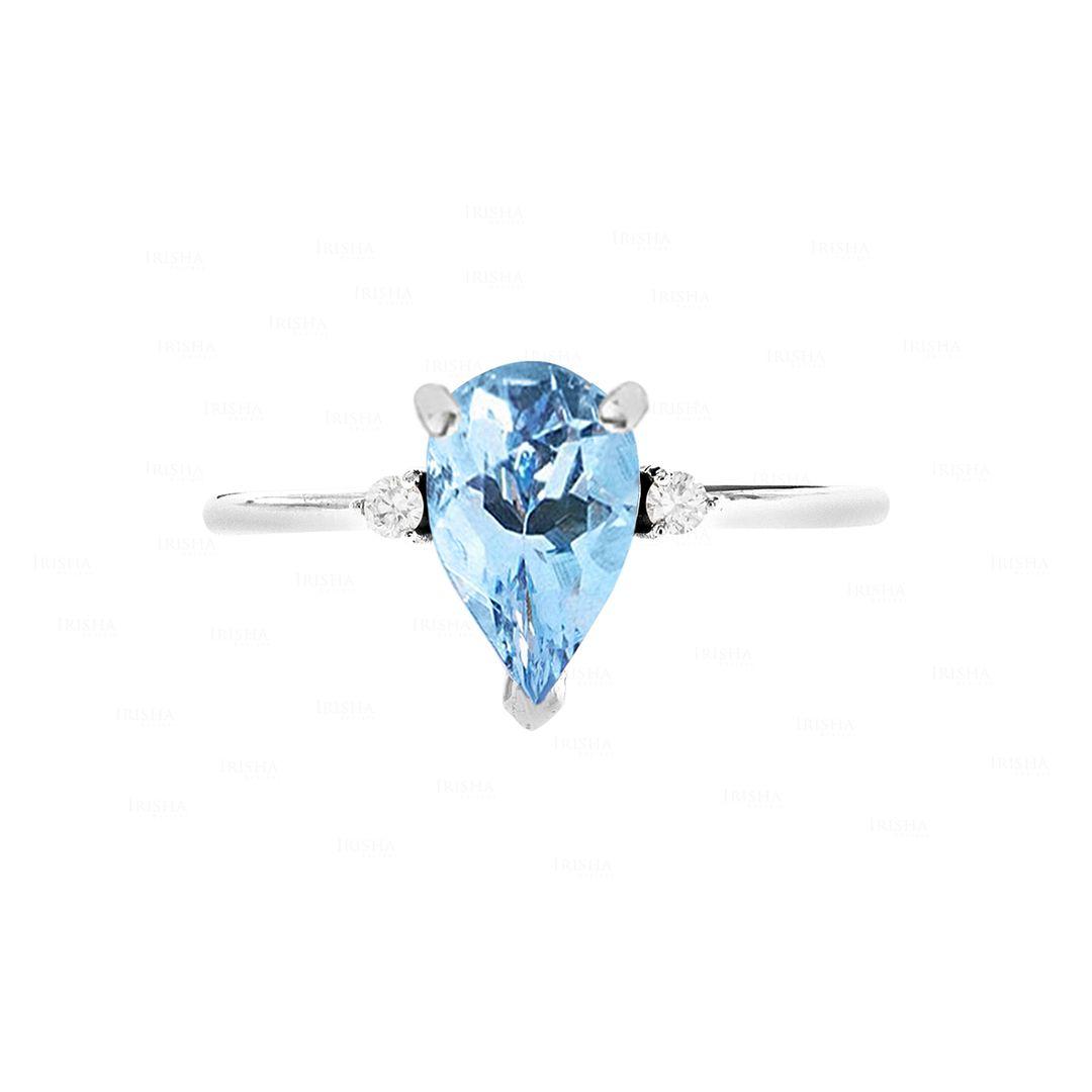 14K White Gold Pear Shape Aquamarine And Diamond Ring Fine Jewelry Size 7.5 US