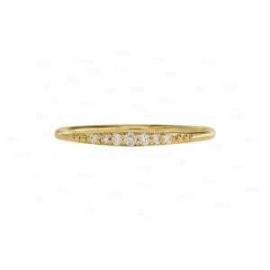 14K Yellow Gold 0.10 Ct. Diamond Minimalist Thin Band Ring Jewelry Size 5.5 US