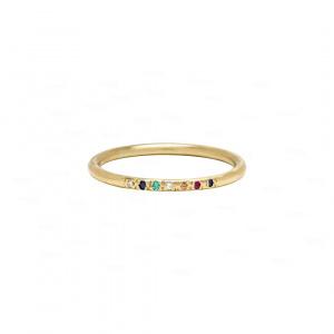 Multi Color Stone Band 14k Gold