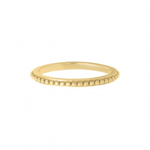 Beaded Stackable Band 14k Solid Gold